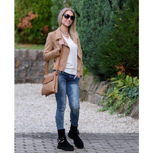 Bézs vékony velúr kabát (S-XL)