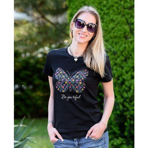 Pillangó mintás fekete póló (S/M-L/XL)