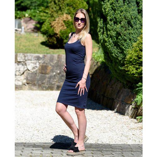 Testhezálló egyszínű kék ruha (S-M)