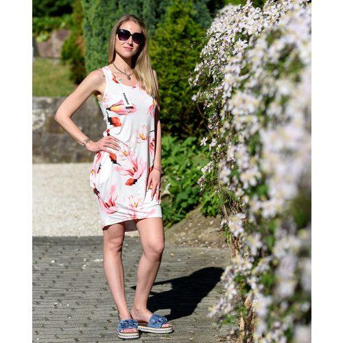 Hosszú rózsaszín-piros virágmintás ruha (S-L)