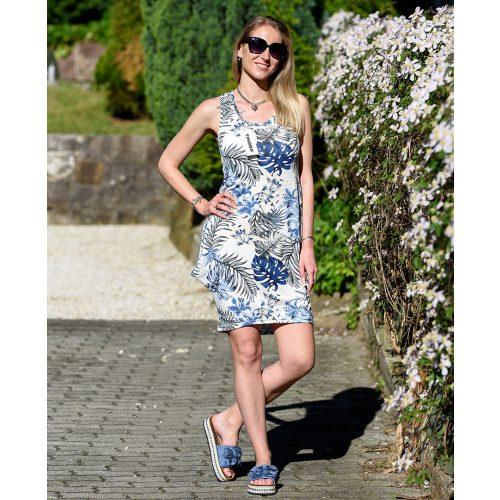 Hosszú kék-fehér levélmintás ruha (S-L)