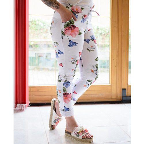 Gumis derekú rózsaszín-kék virágmintás pamut nadrág (M-L)