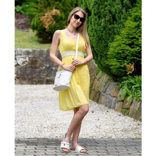 Hímzett díszöves sárga ruha (S-L)