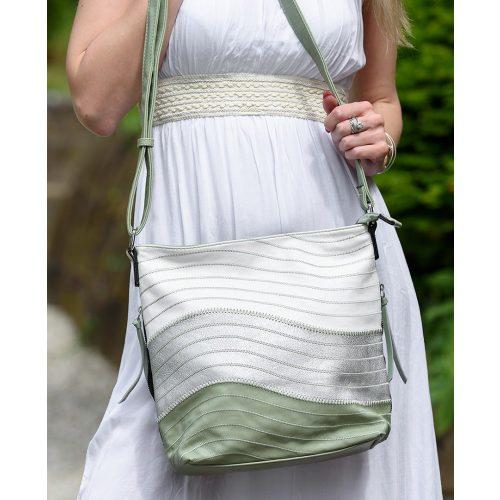 Csíkos trikolor női oldaltáska (zöld-ezüst-fehér)