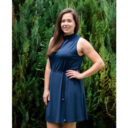 Fodros nyakú kék egyszínű ruha (S-L)