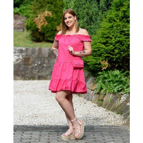 Egyszinű pink ruha táskával (S-L)