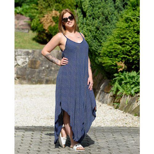 Hosszú pántos kék csíkos ruha (S-L)