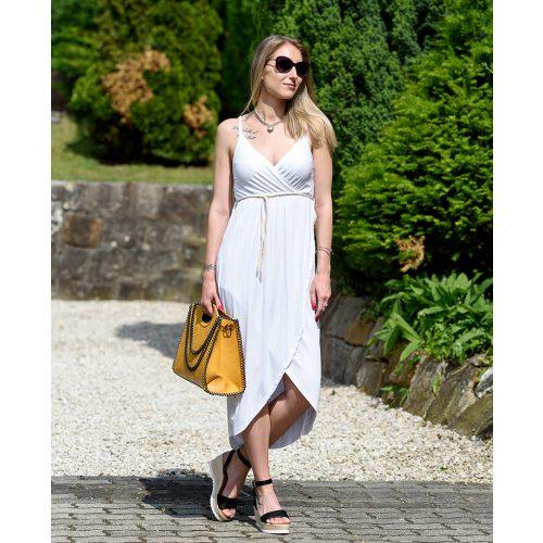 Mellnél átlapolt fehér ruha (S-L)