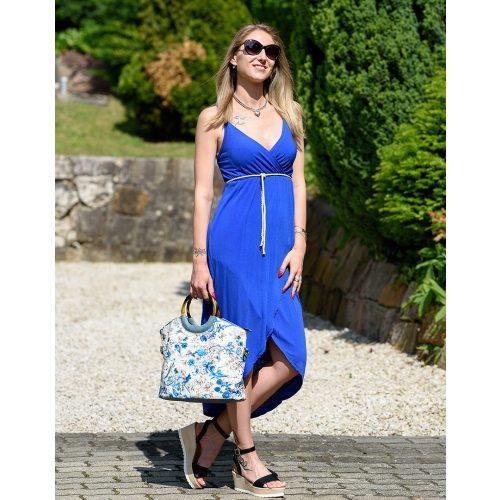 Mellnél átlapolt kék ruha (S-L)