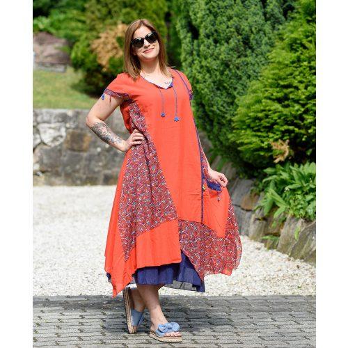 Bojtos piros hosszú ruha (M-XL)