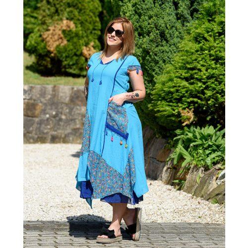 Bojtos kék hosszú ruha (M-XL)