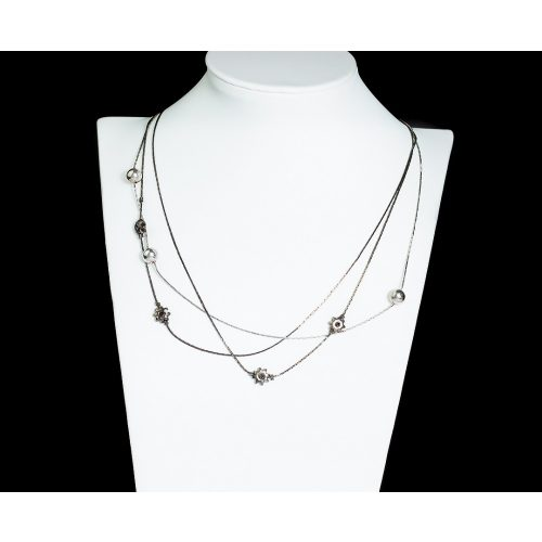 Három szálú antikolt ezüst nyaklánc