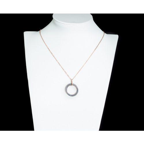 Vékony bronz bevonatú ezüst nyaklánc világoskék karika medálokkal