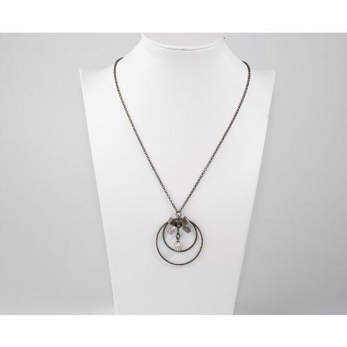 Antikolt bevonatú ezüst nyaklánc cirkónia köves medállal