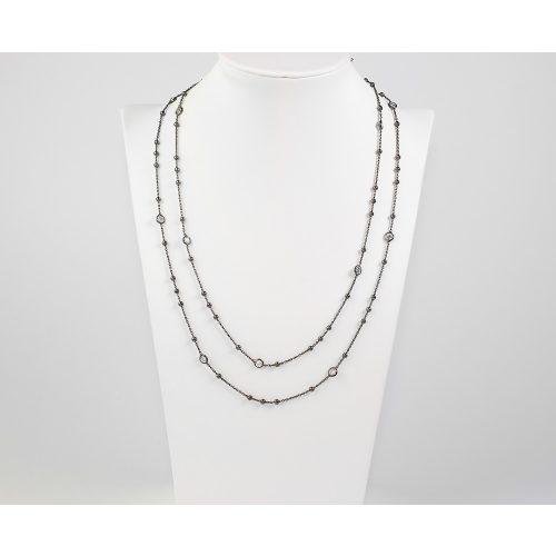 Antikolt bevonatú ezüst nyaklánc cirkónia kövekkel